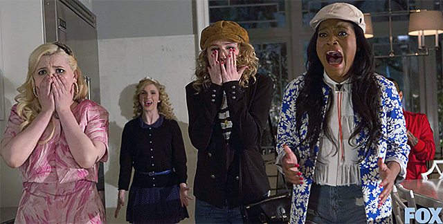 Chanel #5 (Abigail Breslin, L) and new Sorority Pledges Grace (Skyler Samuels, C) and Zayday (Keke Palmer, R)